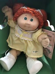 1984 New Cabbage Patch Doll Red Hair/green Eyes/original Clothing/still With Box