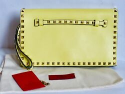 Valentino RockStud Clutch Wristlet  Bag  Yellow Leather Gold Flap AUTH