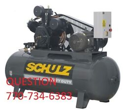 SCHULZ AIR COMPRESSOR 15HP 3-PHASE 120 GALLONS TANK- 208-230-460 VOLTS NEW