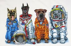 Space Dogs--nasa Astronaut Flight Suits Astronomy Science 2 Sided T Shirt S-3xl+