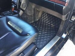 Luxury Black Bespoke Leather Car Floor Mats Fully Tailored Fit Mercedes S W140