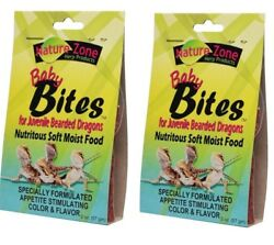 2x Nature Zone Juvenile Bearded Dragon Baby Bites Nutritious Soft Moist Food 2oz