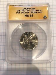 2009-p 25c District Of Columbia Dbl Die Rev Wddr-077 Ms-66 Coin Mistake