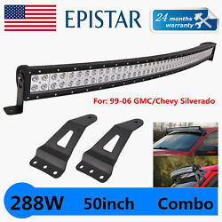 50and039and039 Curved Led Spot Flood Light+99-06 Chevy Silverado/gmc Sierra Mount Brackets