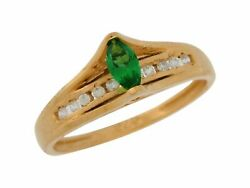 10k Or 14k Yellow Gold Simulated Emerald And White Cz Ladies Bridge Setting Ring