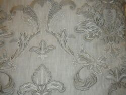 Pure Luxury Linen Belgian Embroidered Lined Window Panel Pair Gray 50 W X 96 L