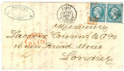France Cover 1866 Paris To London Uk - Rare Pd Cancels On Stamps - Cover540