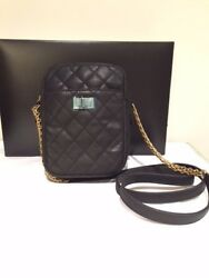 Authentic Chanel Black Quilted Calfskin Leather Reissue 2.55 Camera Bag