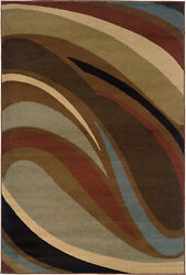 Hudson By Oriental Weavers. Contemporary Abstract Area Rug. Brown/blue/red 2666f