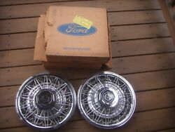 1980 1981 1982 Mercury Cougar 14 Wire Spoke Hubcaps 2. Oem New Old Stock