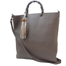 Unused Auth GUCCI 2WAY Tote Bag Bamboo Shoulder Bag Leather Gray Black Hand Bag
