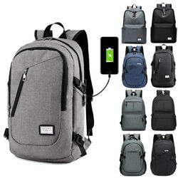Anti theft Mens Womens USB Charging Backpack Laptop Notebook Travel School Bag $15.98
