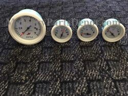 Mercury Outboard Analog Gauge Set - White - 7k Tachometer Temp Fuel And Volts