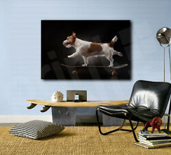 Jack Russell Terrier Dog On a Skateboard Art Canvas Poster Fine Print Wall Decor