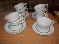 7 Theodore Haviland Ny Cups And Saucers - Regents Park - Green Stripe