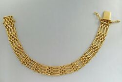 KutChiu 18K  18KT Yellow Gold 11mm Gate Bracelet #730