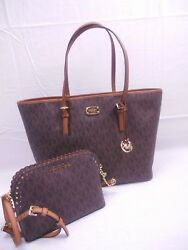 Michael Kors Carryall Tote Shopper Brown PVC Violet Crossbody LG Vanna PHN Case