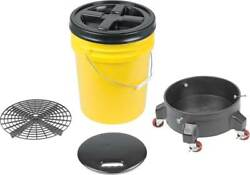 Grit Guard Deluxe Wash System 5 Gallon Yellow Pail With Black Lid