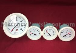Mercury Outboard Analog Gauge Set - White - 6k Tachometer Temp Fuel And Volts