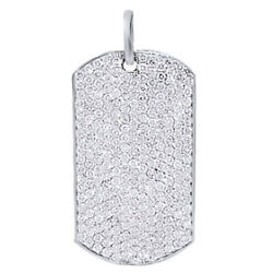 3.50 Ctw Round Cut Simulated Diamond 14k White Gold Over Mens Dog Tag Pendant