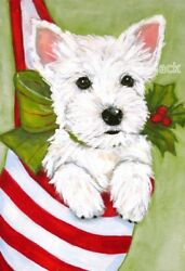 West Highland Terrier WESTIE MATTED Christmas PRINT Painting