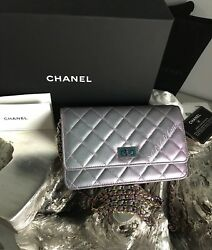 NWT CHANEL IRIDESCENT PURPLE WOC MERMAID RAINBOW O-MINI CLUTCH BAG WALLET CHAIN