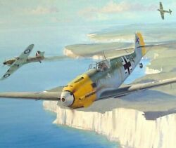 Superb Original Ww2 Military Aviation Art Painting Battle Of Britain Me-109 Wwii