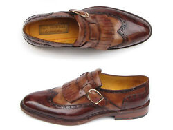 Paul Parkman Menand039s Wingtip Monkstrap Brogues Brown Hand-painted Leather Upper Wi