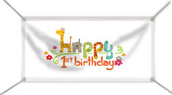 Happy 1st Birthday Banner, - With Name And Age