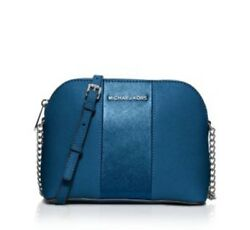 NWT $178 MICHAEL KORS Cindy Large Dome Crossbody Steel Blue Leather 32H5SC1C8L
