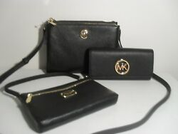 Michael Kors Crossbody Fulton Black Leather MK Gold Wallet Wristlet Purse NWT