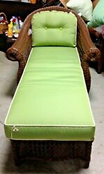 Frontgate Charleston Wicker Outdoor Chaise Lounge Chair With Cushion Green 1700