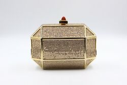 Judith Leiber Gold Octagon Clutch Evening Bag Swarovski Crystal Embellished