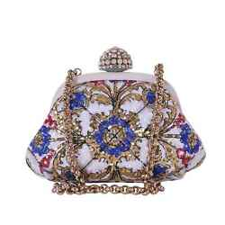 DOLCE & GABBANA Clutch Evening Bag with Sequins Embroidery White Gold Blue 05960