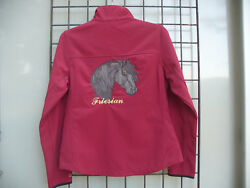 New Ladies' Custom Brick Red Friesian Horse Soft Shell Jacket In Size S