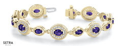 Total 5.35ct Oval Cut Natural Genuine Amethyst And Diamonds Bracelet 14k Gold