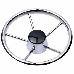 Stainless Steel 11and039and039 5 Spokes Boat Steering Wheel 280mm Dia For Marine Yacht