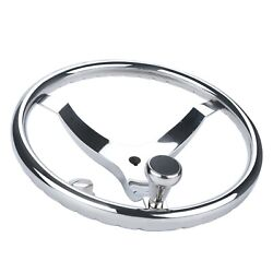 13-1/2 Boat Steering Wheel Stainless Steel 3 Spokes With Knob-5/8 Nut
