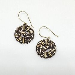 Antique Victorian Gold Pique Drop Earrings Round English 1800s Subiaco Antiques