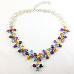 Genuine Gemstone Statement Necklace 106 Carats Tw In Sterling Silver