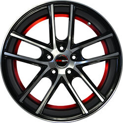 4 GWG Wheels 18 inch Black Red ZERO Rims fits CHEVY IMPALA 2000 - 2013