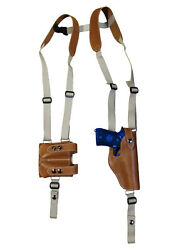 New Tan Leather Vertical Shoulder Holster Mag Pouch Ruger Star Full Size 9 40