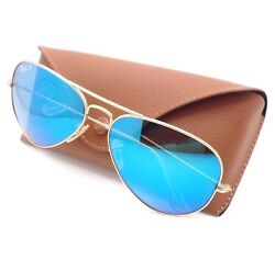 Ray Ban RB 3025 112 4L Matte Gold Blue Mirror Polarized Authentic Sunglasses New $139.95