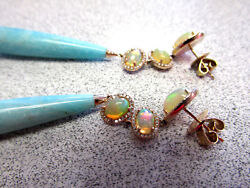 Incredible Opal And Blue Stone Earrings 14k Rose Gold Must See These Make Offer