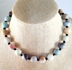 Adjustable Matte Finish Individually Knotted Amazonite & Leather Choker Necklace