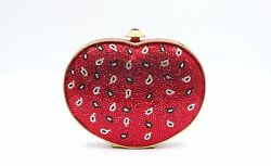 New Judith Leiber Clutch Bag Heart Red Gold Swarovki Crystal Embellish Evening