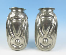 Pair Alice And Eugene Chanal Antique French Art Nouveau Hammered Tin 11 Vase Deco