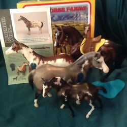 Breyer Vintage Club Paint Pinto Horse Family NIB + Bay Warmblood Stallion