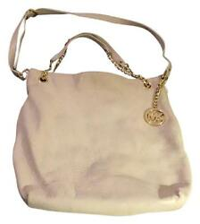 Michael Kors Off White Leather Shoulder Bag Designer Purse Preowned Gently Used
