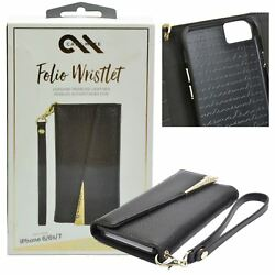 Case-Mate Genuine Leather Wallet Case Cover Wristlet For iPhone 7 8 6s 6 - Black